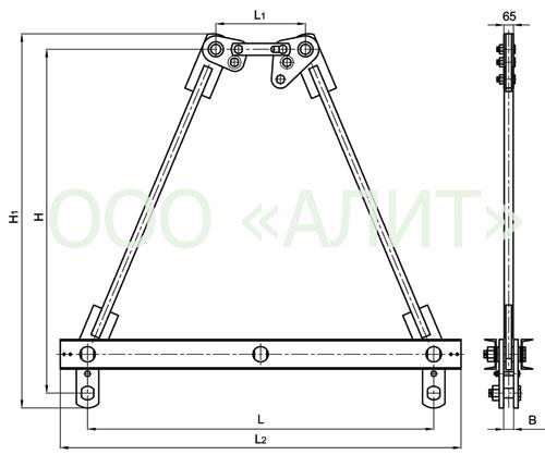 2KD22 - Коромысла двухцепные с двумя точками крепления типа 2КД2