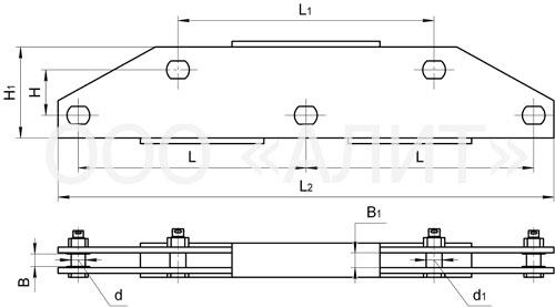 3KD21 - Коромысла трехцепные с двумя точками крепления типа 3КД2