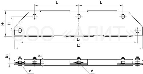 3KD22 - Коромысла трехцепные с двумя точками крепления типа 3КД2