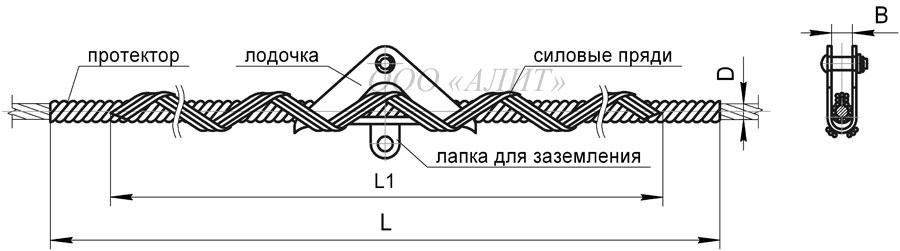 SP Dpr 6A - Зажим поддерживающий спиральный СП-Dпр-6А (аналог ПСО-DminDmaxП)