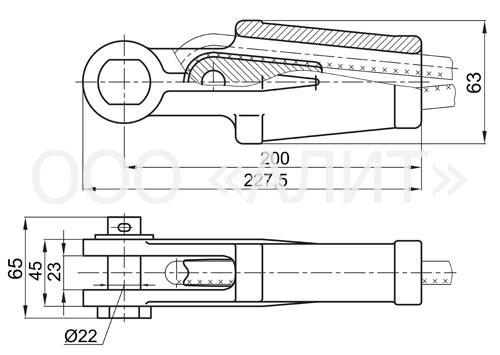 NKK 2 1 - Зажим натяжной клиновой  НКК-2-1